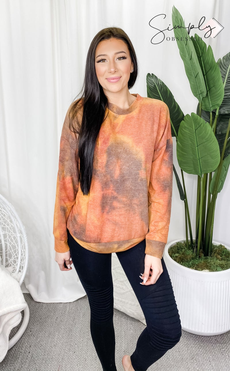 cherish - Tie dye long sleeve pullover top