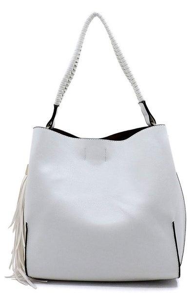 BAG BOUTIQUE-Weaved Top Handle 2-in-1 Shoulder Bag