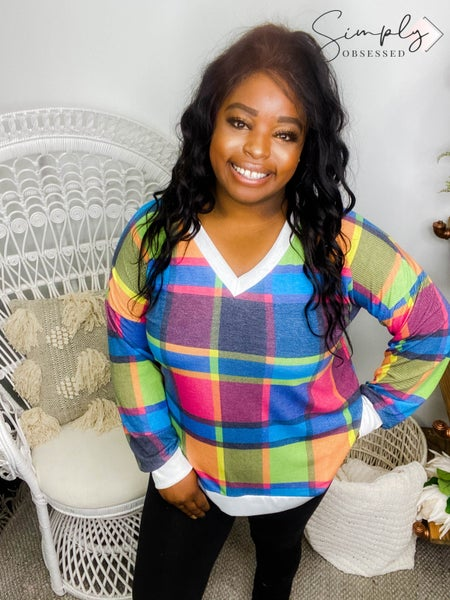Sew In Love - Long sleeve plaid v-neck top with contrast bands (plus)