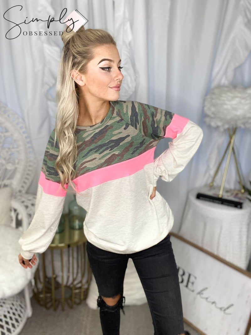 Vanilla Bay - Long sleeve color block knit top