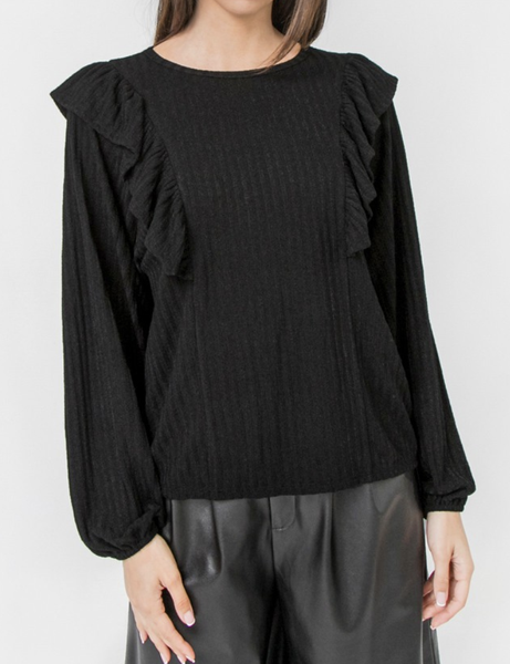Flying Tomato - Round neck ruffle detail knit top