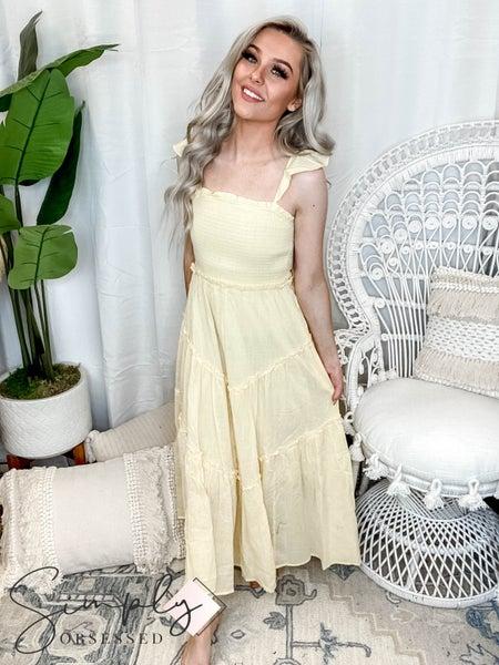 Listicle - Ruffle Sleeve Smocking Maxi Dress