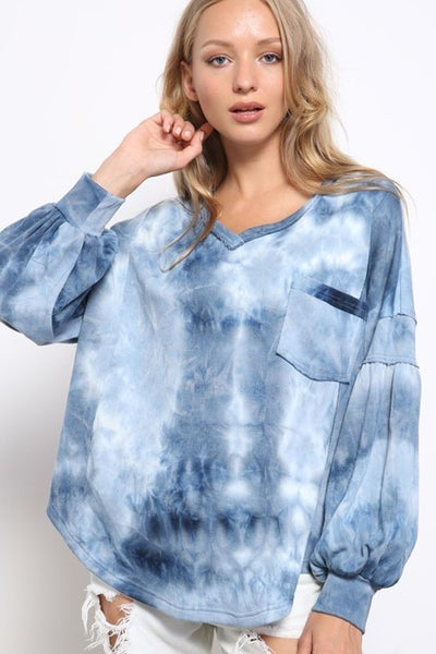 Mittoshop - Tie dye v neck long sleeve sweatshirt