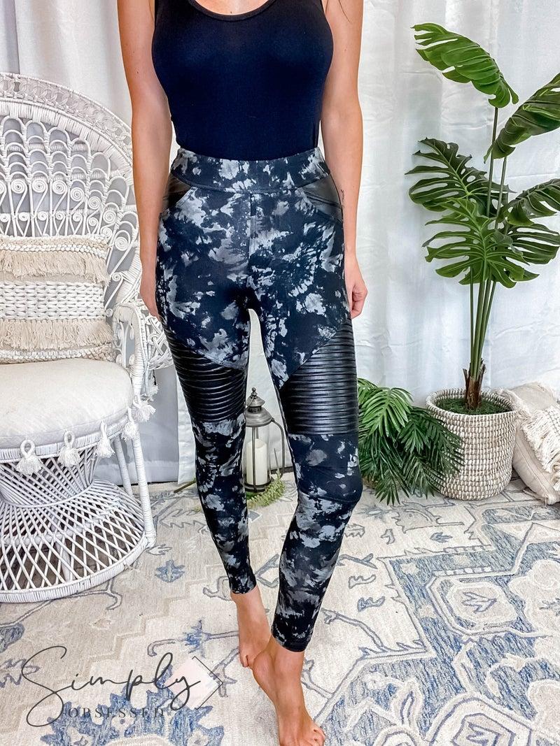 White Birch LA First Dibs - High Waisted Tie Dye Print Knit Leggings