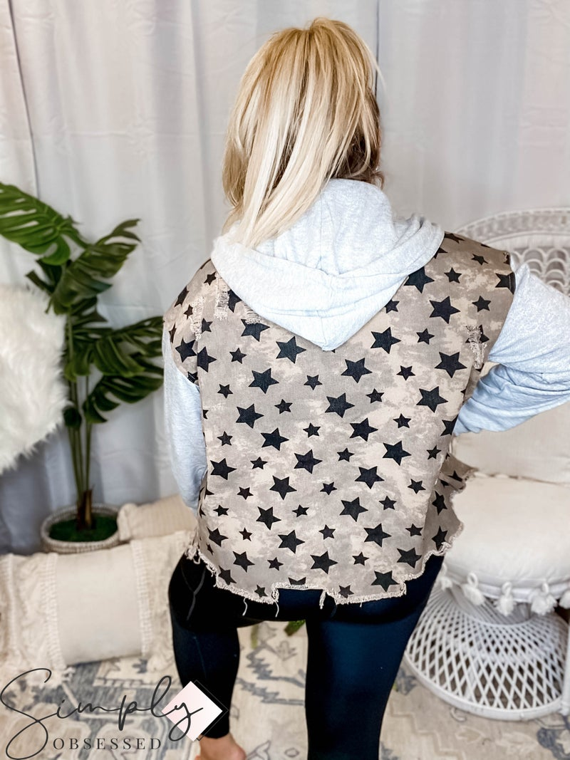 Oddi - Star printed distressed snap button down jacket(All Sizes)