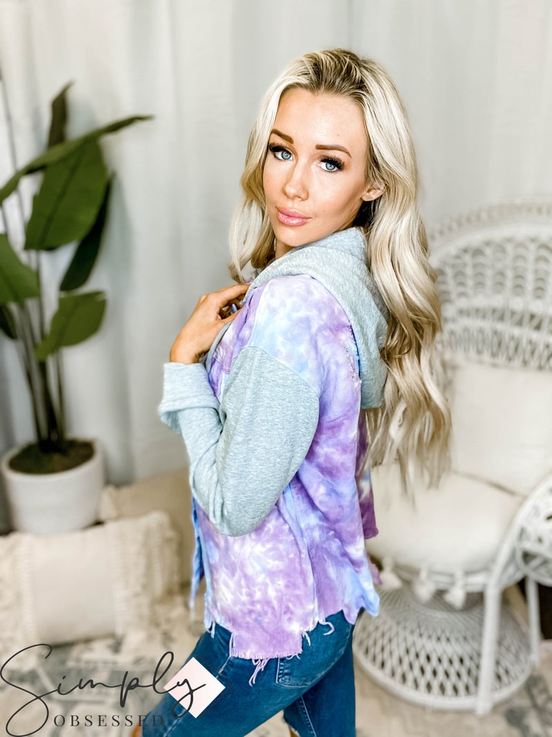 Oddi - Tie dye distressed snap button down jacket with terry knit hoodie and sleeves(All Sizes)