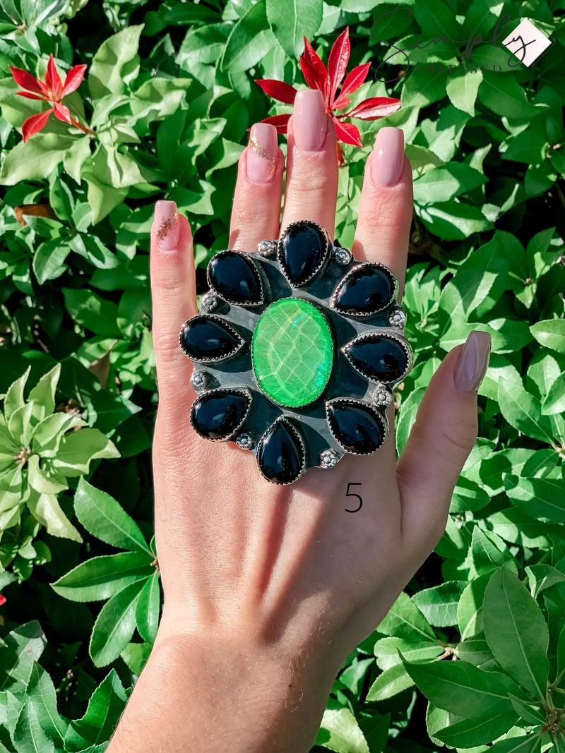 M & S - Iridzed Opal w/ Black Onyx Ring