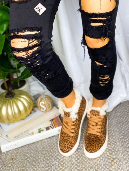 Corkys - Leopard Detail Sneakers with Fur detail
