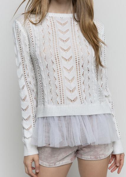 Pol - Crochet cable lace seam sweater