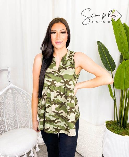Sew In Love - Sleeveless camo soft v-neck top