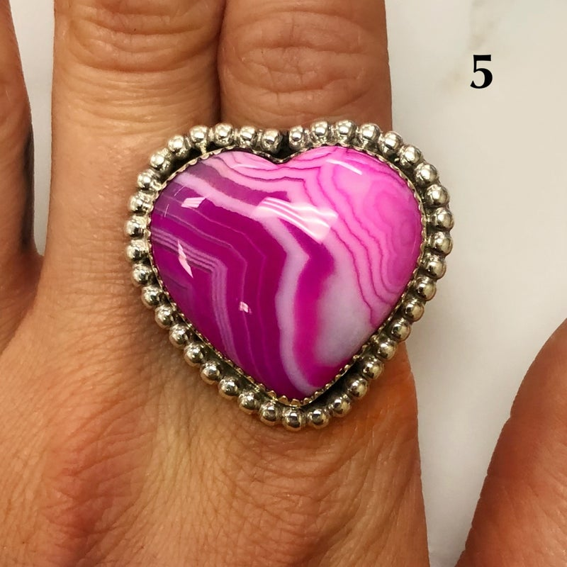 M&S Sterling Silver - Pink Agate Heart Ring