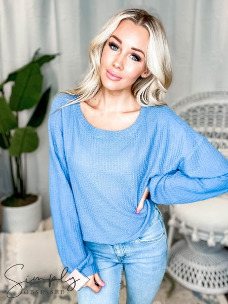 Listicle - Waffle Round Neck Crop Knit Top