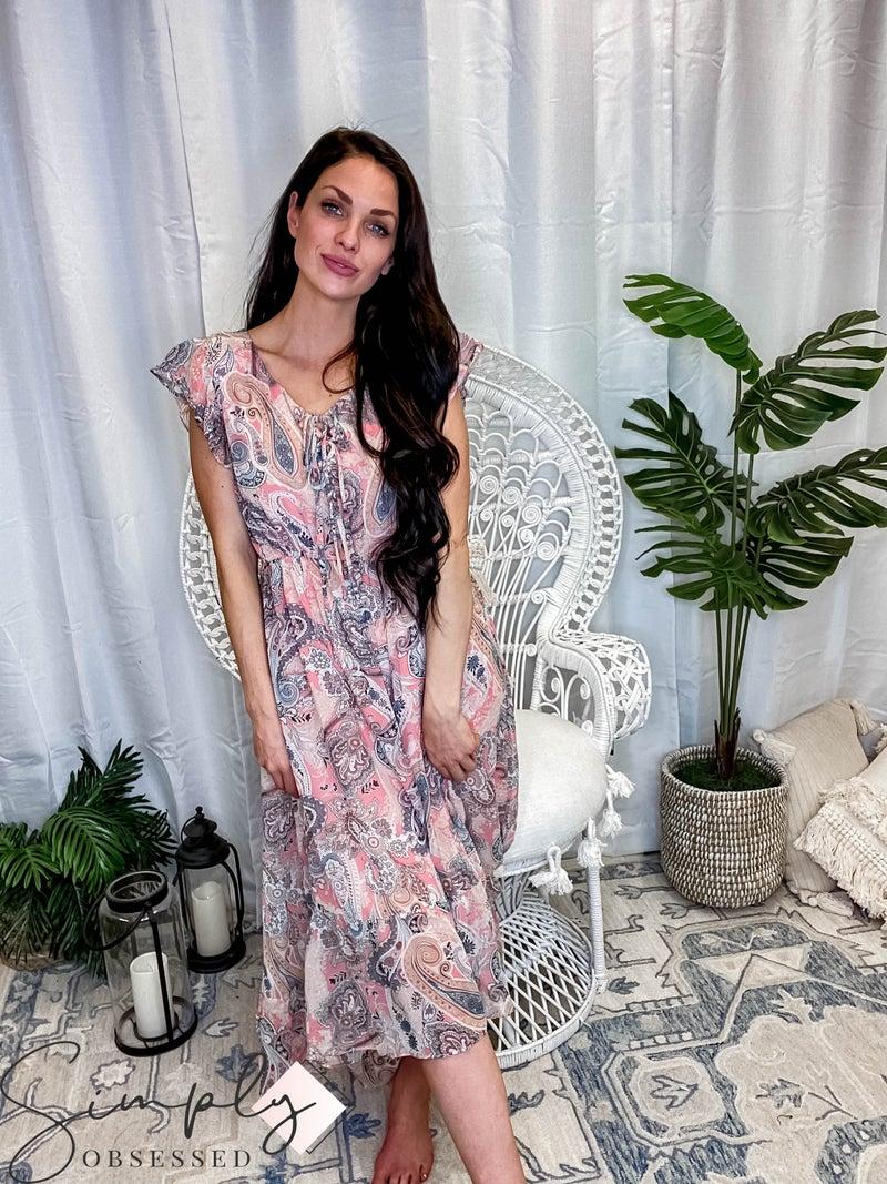 Kori - Soft chiffon paisley printed fabric high low dress