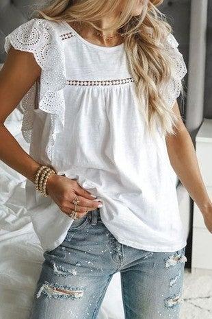 Mazik - Lace trim short sleeve blouse
