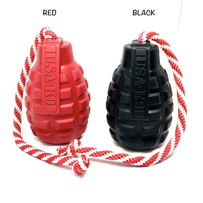 USA K9 - Extra large grenade dog chew toy with rope detail