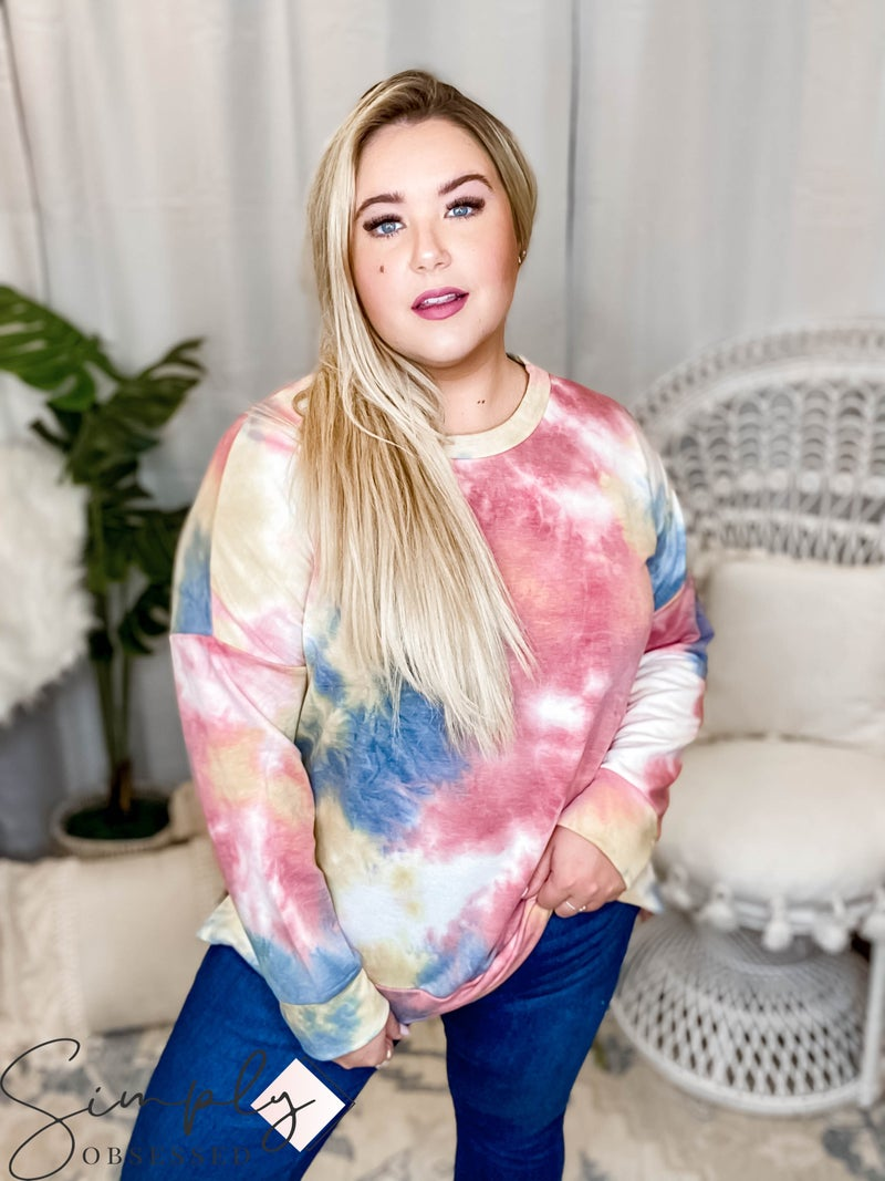 Oddi - Tie dye long sleeve slit vent hem top(All Sizes)