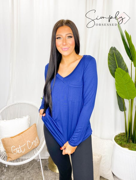 Sew In Love - Long Sleeve Solid V Neck Top