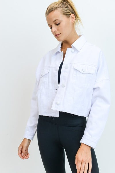 Mono B - Raw & Ribbed Crop Denim Jacket