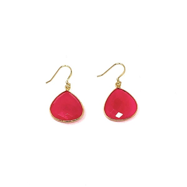 Hot Pink Faceted Earrings