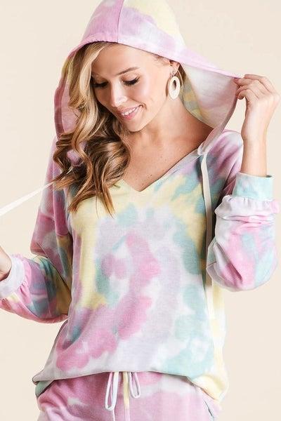 Bibi - Long sleeve tie dye lounge wear hoodie