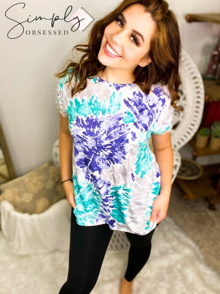 Ces Femme - Short sleeve tie dye top w/ braided trim on sleeves