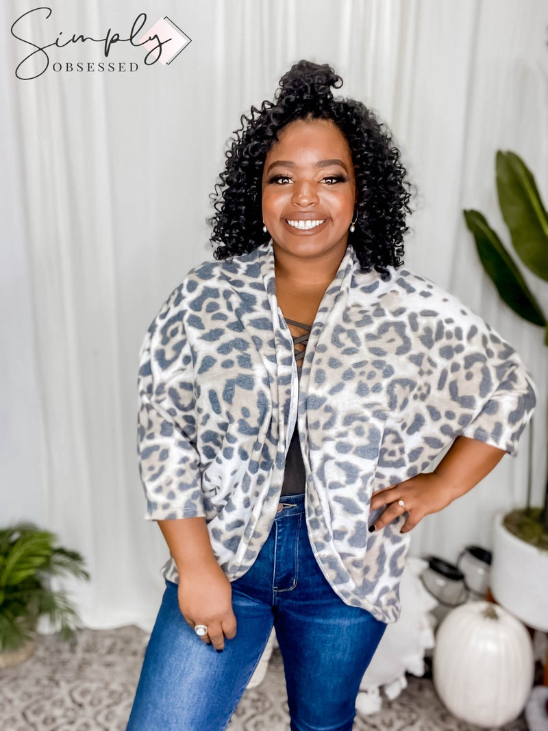 Vanilla Bay - 3/4 Sleeve Leopard Print Brushed Knit Dolman Kimono Cardigan