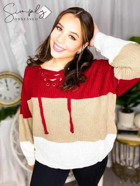 Rousseau - Lace up detail color block sweater