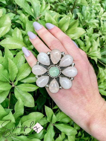 M & S - Rose Quartz W/ Onyx Flower Ring