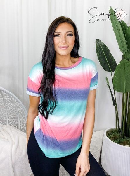 White Birch - Short sleeve stripe knit top(plus)