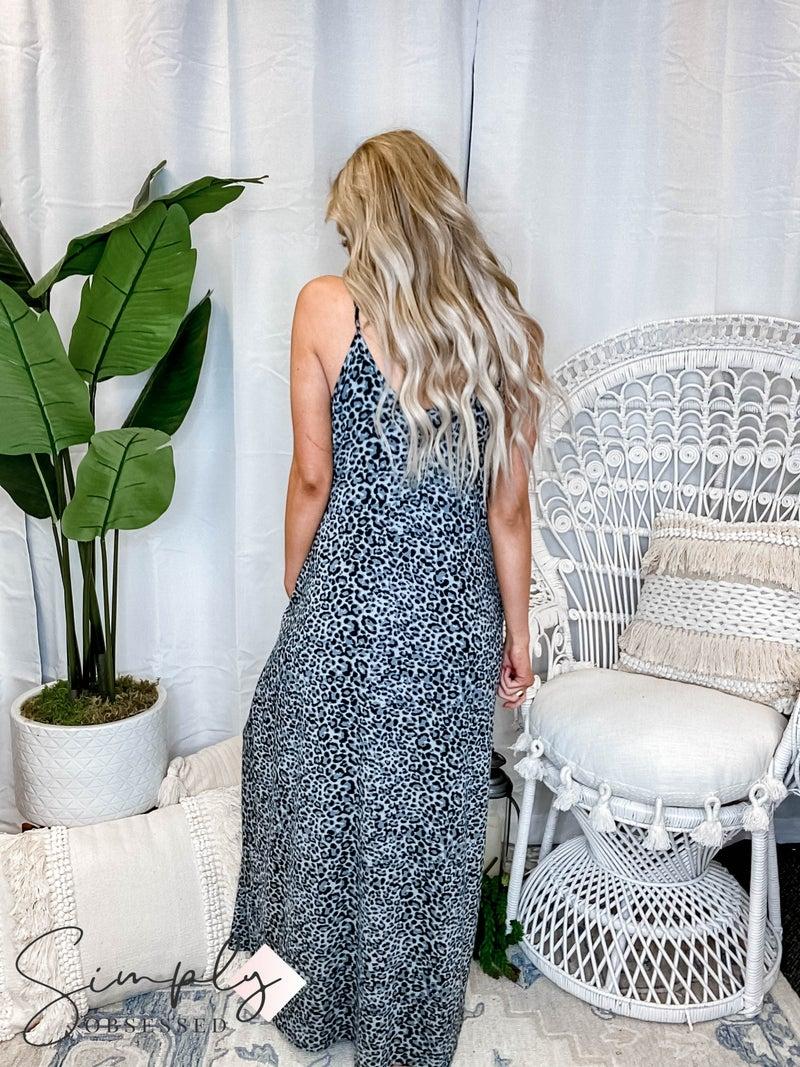 Leopard print cami maxi dress with pockets