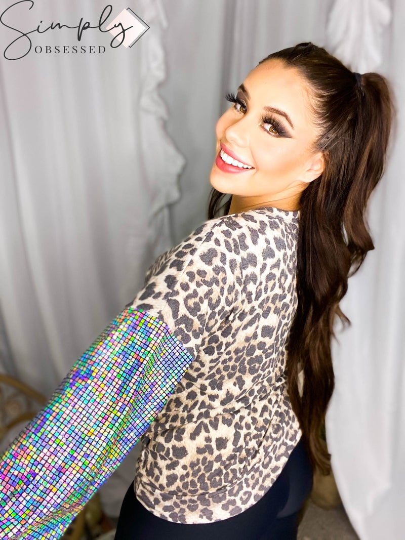 Vanilla Bay - Leopard print top with hologram sequin long puff sleeves