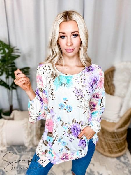 Orlando White Birch Pre-Sale - Long sleeve floral print knit top