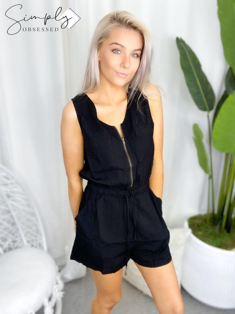 P.S. Love - Short sleeve romper w/ half zipper and pockets