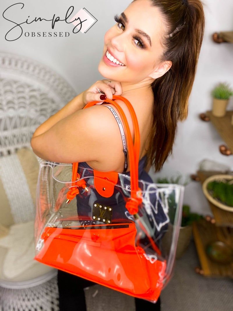 Clear Tote Bag with Neon Detail