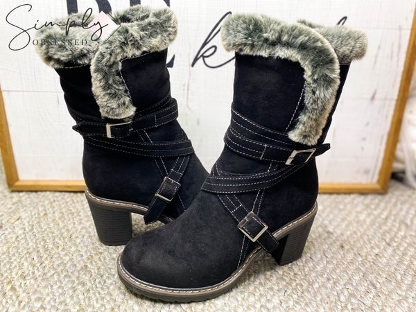 Corky's Footware - Fur lined zipper and strap detail boots