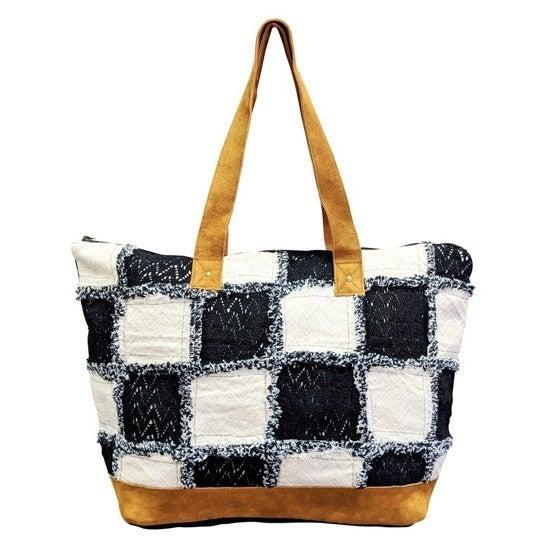 Chloe & Lex - Black/White Checker Tote Bag