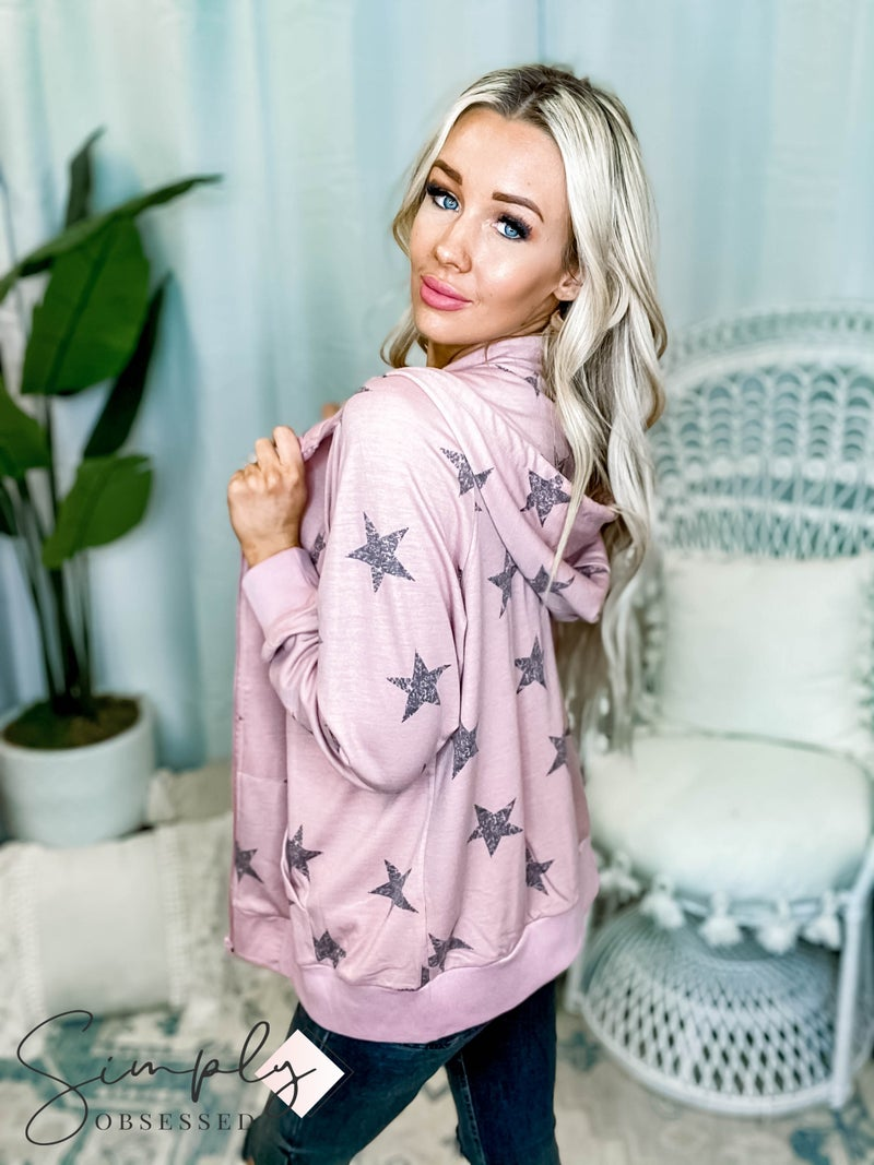 Rae Mode - Star Printed French Terry Long Sleeve Open Zip Up