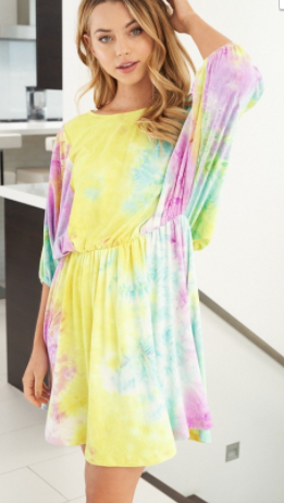White Birch - Short sleeve tie dye knit dress with elastic waist band(plus)