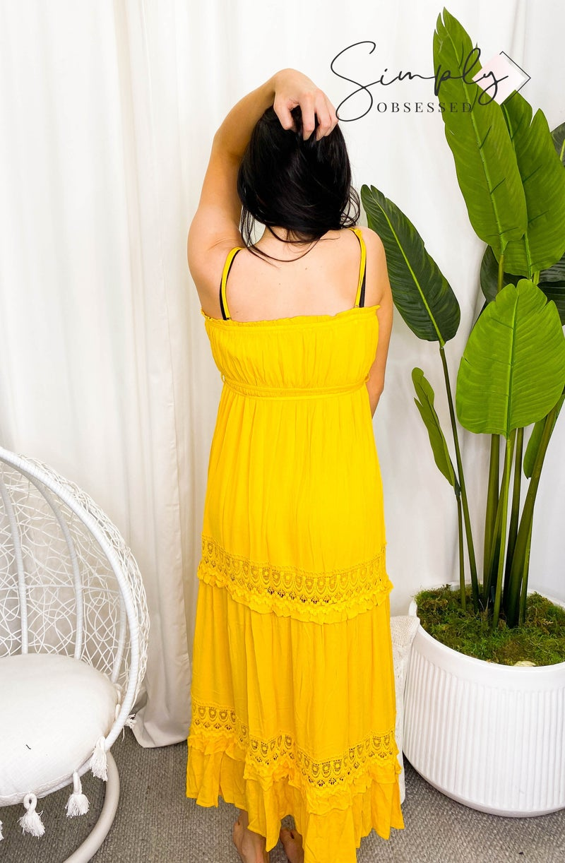 Hailey & Co - Sleeveless maxi dress with elastic waist band and straps