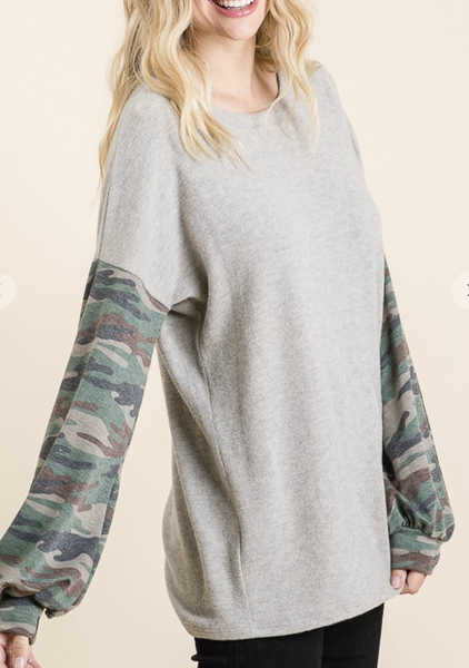 Vanilla Bay - Balloon sleeve brushed knit top with camo print and contrast detail