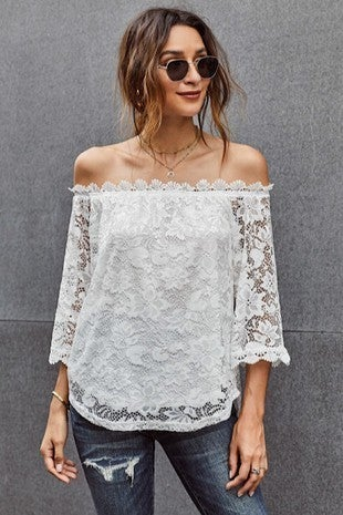Miss Sparkling - Off the shoulder lace top