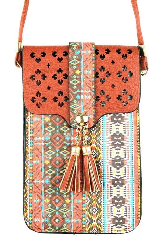 Hana - Aztec crossbody cellphone case with clear window