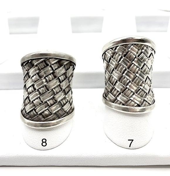 Woven Checkered Silver Wrap Ring