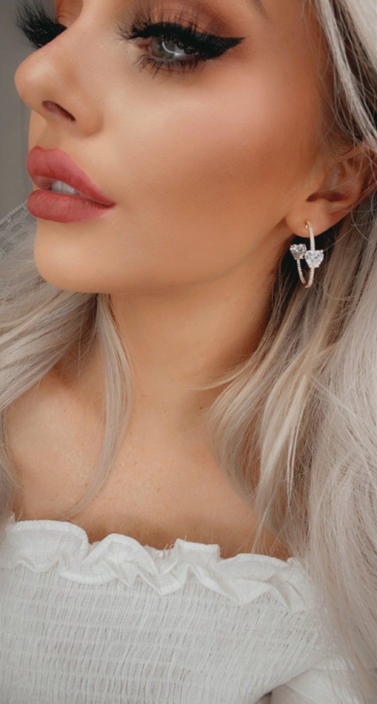 TPJ - Rhinestone Heart 3/4 Hoop Earrings