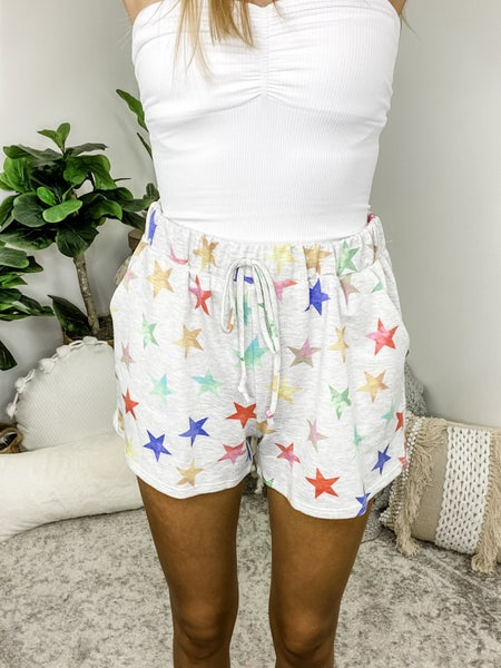 HONEY ME-DRAW STRING SHORTS WITH STAR PRINT