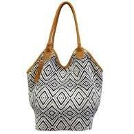 Chloe & Lex - Black & White Diamond Bucket Tote Bag