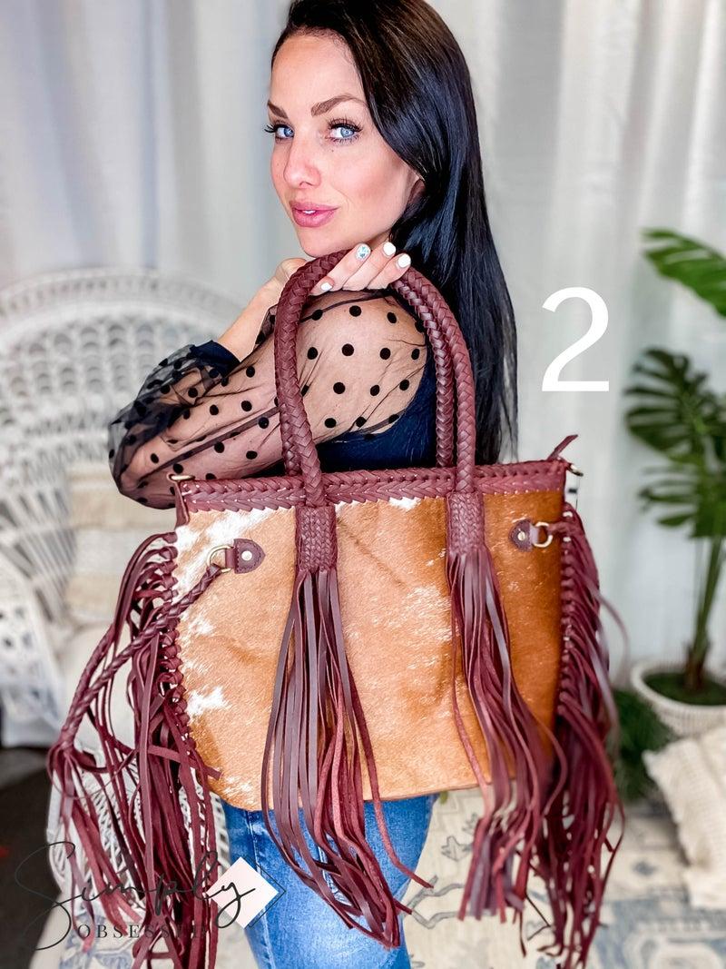 American Darling - Genuine Leather Handbag w/Extreme Tassel Detail and Braided Stitching