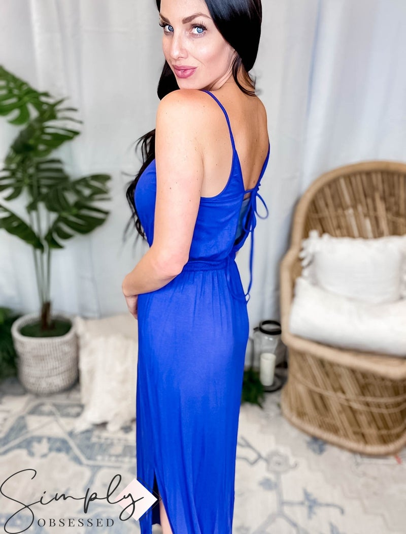 Mittoshop - Back Side Slitted Maxi Dress with Back Straps