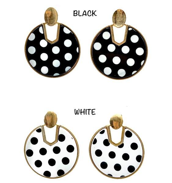 CAMILLE - Gold Polka Dot Detail Earrings