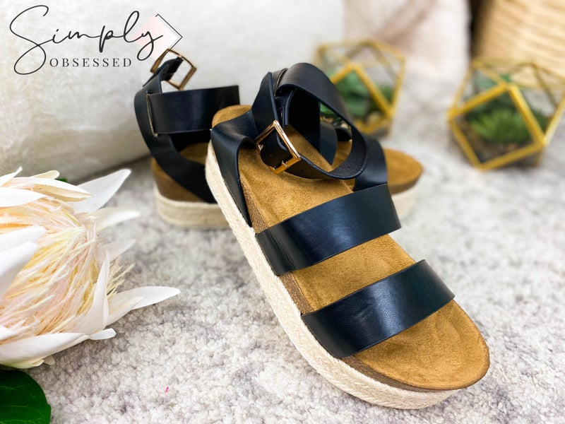 Qupid - Elastic band platform sandals